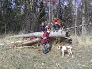 My kiddos on an old tree with Tana, my dog (7/10/00-4/30/14)